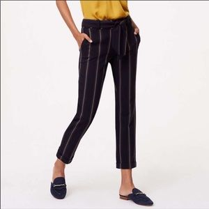 Loft striped cropped cuffed pants navy gold belted